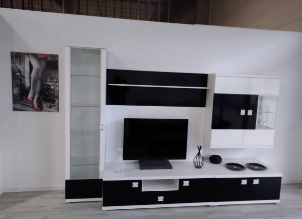 Obývacia stena LIVIO–biela VL / čierna VL